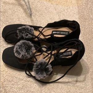 Design Lab Pom Pom Laceup Black suede shoes 6